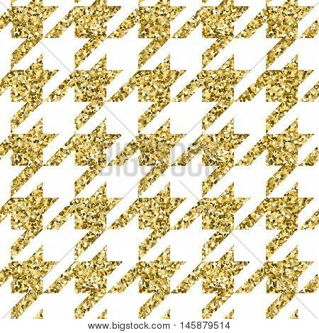 Vector illustration season fashion trend pied-de-poole houndstooth dogtooth puppy tooth for fashion collections: sweater, cardigan, sweatshirt, jewelery, costume in gold metallic color