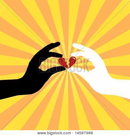 Silhouette der Hände Liebe speichern