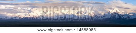 Panoramic view of Pamir mountain - Zaalay valley - Kyrgyzstan - central asia