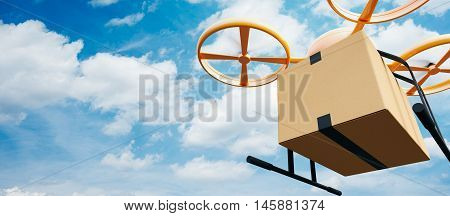 Photo Yellow Generic Design Modern Remote Control Air Drone Flying Empty Craft Box Under Urban Surface.Blue Sky Clouds Background.Express Fast Delivery Service.Wide, Angle View.Film Effect.3D rendering