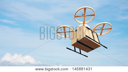 Photo Yellow Generic Design Modern Remote Control Air Drone Flying Empty Craft Box Under Urban Surface.Blue Sky Clouds Background.Express Fast Delivery Service.Side Angle View.Film Effect.3D rendering