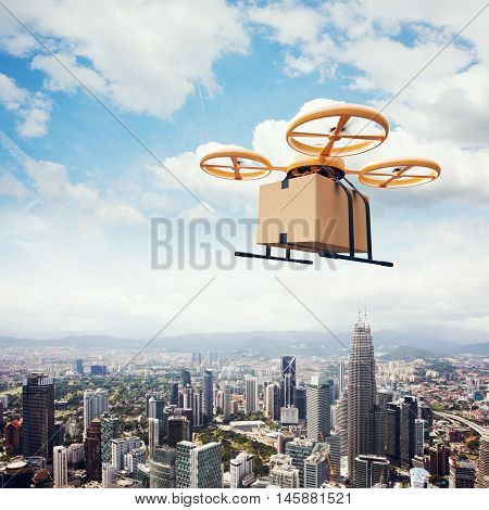 Photo Yellow Generic Design Remote Control Air Drone Flying Sky Empty Craft Box Under Urban Surface.Modern City Background.Online Orders Express Delivery.Square, Side View.Film Effect.3D rendering