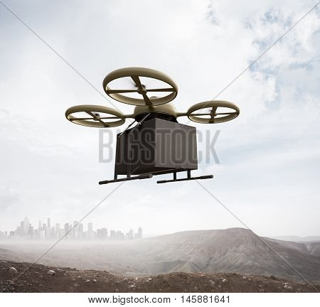 Photo Military Color Generic Design Remote Control Air Drone Flying Sky Blank Black Box Under Earth Surface.Modern City Background.Global Logistic Express Delivery.Square, Front Angle View.3D rendering