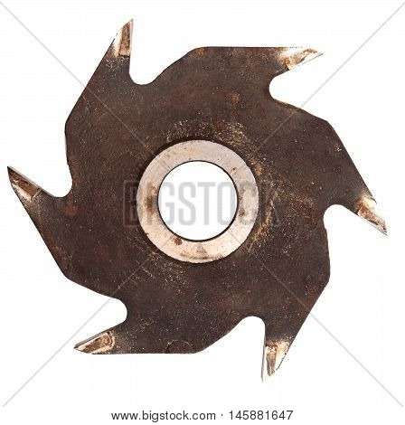 Rusty old circular saw blade isolated on white background