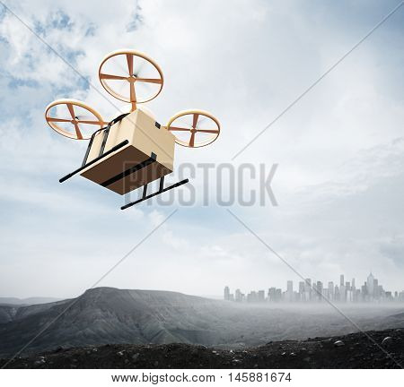Photo Yellow Color Generic Design Remote Control Air Drone Flying Sky Blank Craft Box Under Earth Surface.Modern City Background.Global Logistic Express Delivery.Square, Bottom Angle View.3D rendering