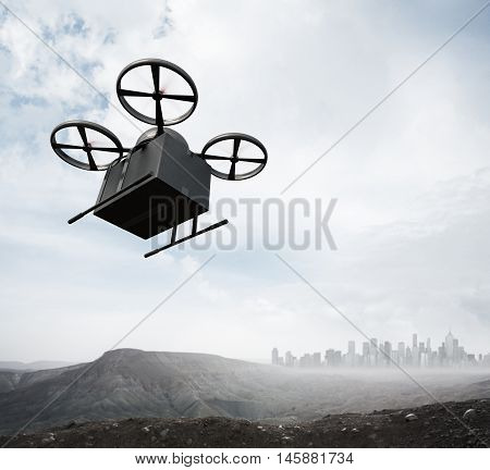 Photo Carbon Material Generic Design Remote Control Air Drone Flying Blank Black Box Under Earth Surface.Modern City Background.Global Logistic Express Delivery.Square, Bottom Angle View.3D rendering