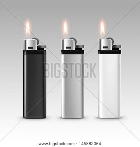 Vector Set of Blank Black White Plastic Metal Lighters with Flame Close up Isolated on White Background
