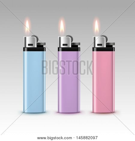 Vector Set of Blank Light Colored Blue Purple Pink Plastic Lighters with Flame Close up Isolated on White Background