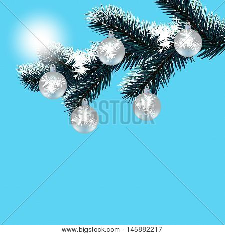 Christmas, New Year's card. Frosty winter day. Silver balls on a snow-covered tree branch. Falling snow. Vector illustration
