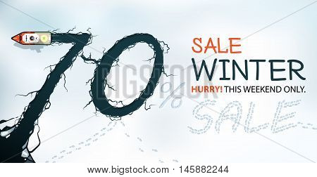 Winter Sale Banner 70% Off Hurry! winter sale view from above.