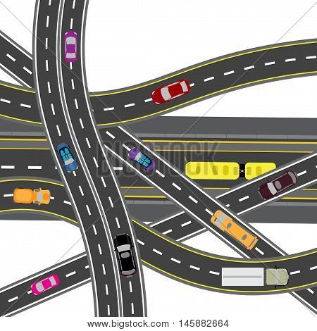 Abstract road junction. The intersections of various roads. Transport. Vector illustration