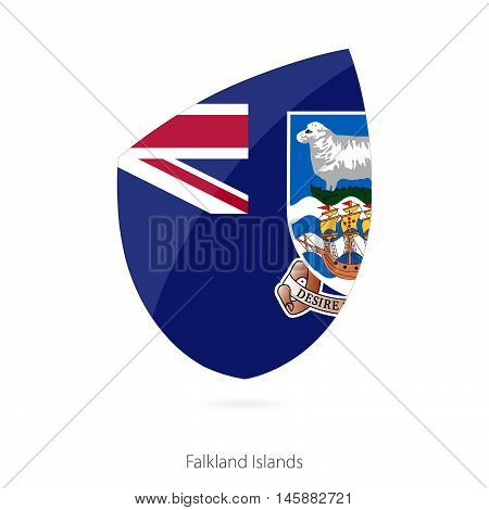 Flag of Falkland Islands in the style of Rugby icon. Vector Illustration.