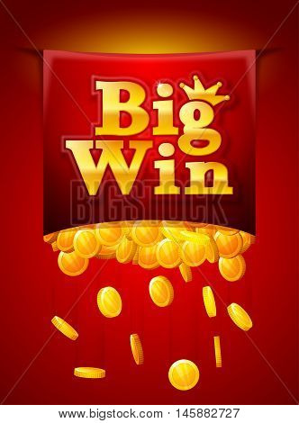 Big win poster with Falling golden coins. Big Win banner. playing cards slots and roulette.