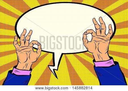 OK gesture hand okay, pop art retro comic book illustration