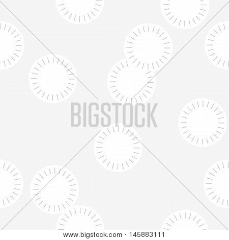 Minimal snowflakes wrapping paper. Abstract seamless pattern with overlapping white circles on light grey background