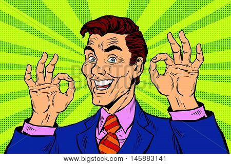 Smiling man gesture okay, pop art retro comic book illustration