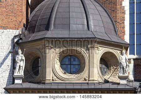 Details of Wawel Cathedral - coronation place of Polish kings- on Wawel Hill Krakow Poland