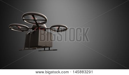 Photo Carbon Material Generic Design Remote Control Air Drone Flying Black Box Under Empty Surface.Blank Gray Background.Global Cargo Express Delivery.Wide, Left Side View. 3D rendering