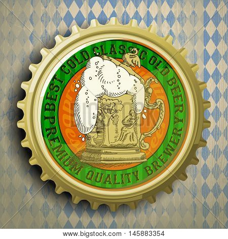 cap for beer bottles on the background of the Bavarian ornament