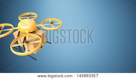 Photo Orange Color Material Generic Design Remote Control Air Drone Flying Craft Box Under Empty Surface.Blank Blue Background.Global Cargo Express Delivery.Wide, Top Angle View.3D rendering