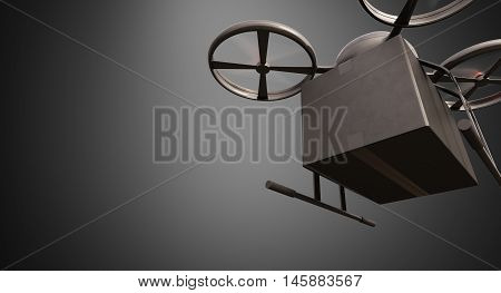 Carbon Material Generic Design Remote Control Air Drone Flying Black Box Under Empty Surface.Blank Gray Background.Global Cargo Express Delivery.Wide, Motion Blur effect.Front Bottom View.3D rendering