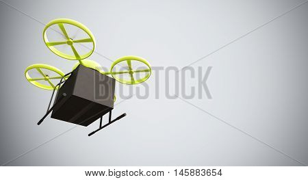 Green Color Material Generic Design Remote Control Air Drone Flying Black Box Under Empty Surface.Blank White Background.Global Cargo Express Delivery.Wide, Motion Blur effect.Bottom View.3D rendering