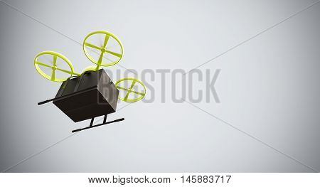 Green Color Material Generic Design Remote Control Air Drone Flying Black Box Under Empty Surface.Blank White Background.Global Cargo Express Delivery.Wide, Motion Blur.Left Side View. 3D rendering