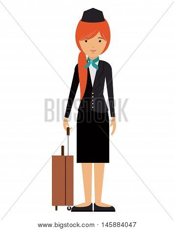 stewardess woman and cartoon icon. profession worker and occupation theme. Isolated design. Vector illustration