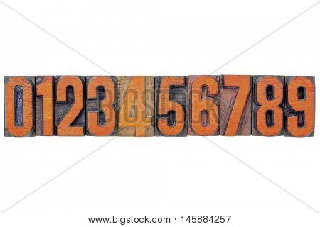 number abstract in vintage letterpress wood type printing blocks isolated on white