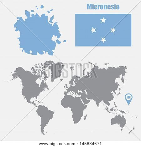 Micronesia map on a world map with flag and map pointer. Vector illustration