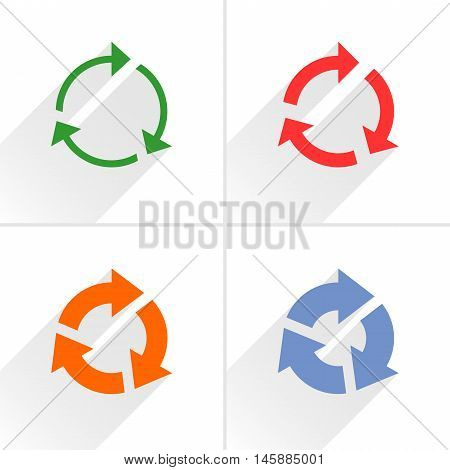 4 arrow icon. Set 03. Rotation reset repeat reload refresh sign. Color pictogram with gray long shadow on white background. Simple solid plain flat style Vector illustration web design 8 eps