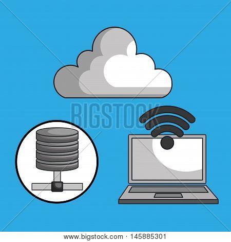 laptop cloud wifi padlock vector illustration eps10