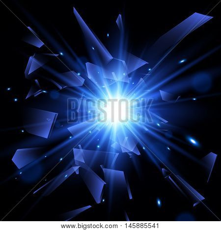 Blue techno style vector explosion, Abstract background