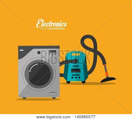 washer and vacuum icon. electronic appliances and supplies for your home theme.Colorful design. Vector illustration