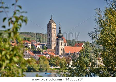 Stein an der Donau (district of Krems) seen from the other side of the river Danube