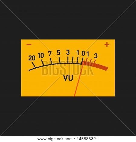 Analog Volume Unit Meter Measuring Device. Vector illustration
