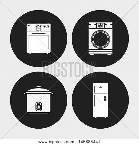 cooker stove washer and fridge icon. electronic appliances and supplies for your home theme. Black and white design. Vector illustration
