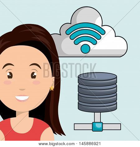 woman cloud wifi icons vector illustration eps10
