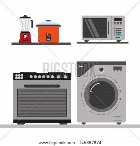 stove washer microwave blender and cooker icon. electronic appliances and supplies for your home theme.Colorful design. Vector illustration