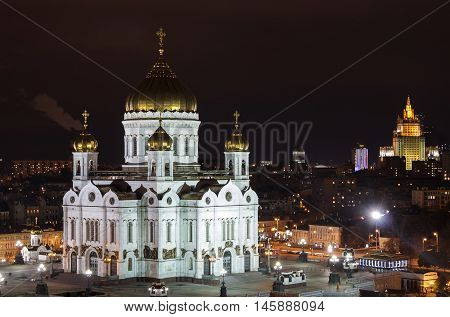Cathedral of Christ the Savior in night Moscow.