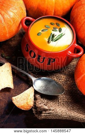 Homemade Hot Butternut Pumpkin and Squash Soup with seeds and croutons