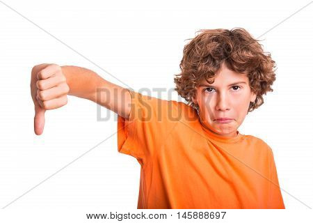 Young kid protesting and showing thumb down