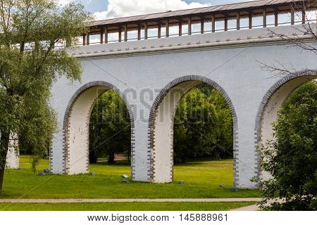 old landmark in Moscow, Russia - Rostokino Aqueduct.