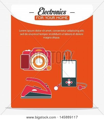 camera iron and mp3 icon. electronic appliances and supplies for your home theme.Colorful design. Vector illustration