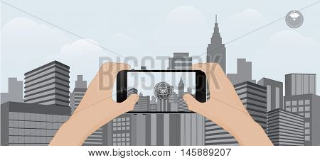 360 degree view in mobile.urban scene on mobile trend technology vector illustration