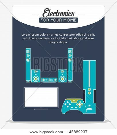 tv videogame and speakers icon. electronic appliances and supplies for your home theme.Colorful design. Vector illustration