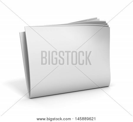 blank newspaper 3d illustration on white background