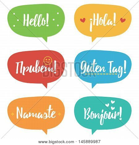 Cute colorful doodle speech bubble set, collection with word hello in different languages.
