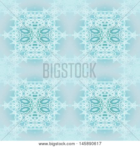 Abstract geometric seamless background. Ornate square ornaments with ellipses turquoise and white on light gray. Laces pattern in pastel colors blurred.