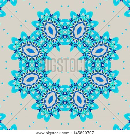 Abstract geometric seamless retro background. Ornate round ornament with elliptical elements in blue turquoise and blue shades on light gray with turquoise dots.